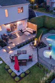 Backyard Pool Designs, Backyard Patio Designs, Small Backyard Decks, Pool Decks, Casas The Sims 4, Casa Patio, Backyard Renovations, Backyard Pool Landscaping, Backyard Makeover