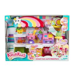 Kindi Kids Fun Supermarket Playset comes with a colourful playmat, Cash Register and Shopkins accessories. Compatible with Kindi Kids Dolls. Suitable for kids, ages 3 years and up. Child Doll, Baby Dolls, Shopkins, My Little Pony Dolls, Girl Toys Age 5, Toy Story Figures, Baby Doll Nursery, Baby Doll Accessories, Cool Toys For Girls