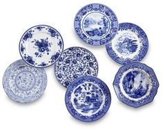 Set of 7 Porcelain Plates, Blue/White | One Kings Lane: Set of 7 #coupons #discounts