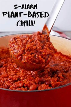 5 alarm plant-based chili is the rich, spicy hot, flavorful, and healthy chili 'non-Carne' that warms you up inside and out. Healthy Chili, Vegan Chili, One Pot Meals, Easy Meals, Spicy Soup, Chipotle Pepper, Chili Recipes, Soups And Stews, Food Processor Recipes