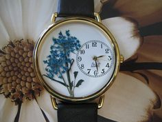 Womens Watch, Turquoise Wrist Watch with Queen Anne Lace and Leather Band by PurplePetalStudio on Etsy