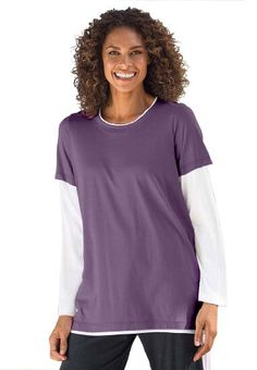 Woman Within Plus Size Top with layered t-shirt look $9.99 (60% OFF)