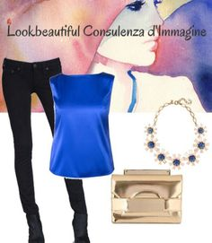 blue satin top and gold clutch