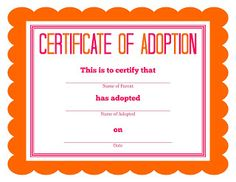 Printable Stuffed Animal Adoption Certificates | Free ...