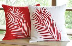 "Set of 2 Red Palm Leaves Decorative Pillow Covers, Linen Throw Pillow Cover 18"" x 18"", Holiday Couch Pillow Cover, Embroidered Pillow Case"