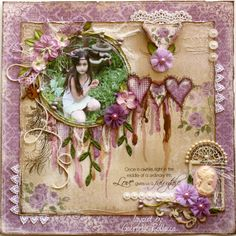 although this is a scrapbook page, it has potential for a handmade card.... love the details ...