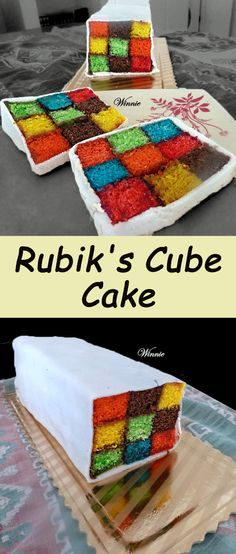 Rubik's Cube Cake. Very unique and fun cake - each slice is different(!),  A bit of a challenge but it will make every kid very happy.   http://www.winnish.net/2011/12/111/