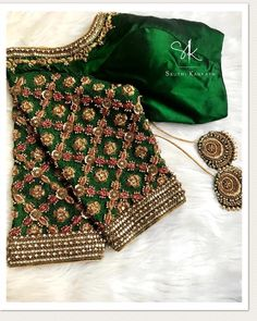 No automatic alt text available. Cutwork Blouse Designs, Kids Blouse Designs, Wedding Saree Blouse Designs, Pattu Saree Blouse Designs, Blouse Neck Designs, Stylish Blouse Design, Designer Blouse Patterns, Green Blouse, Hand Embroidery
