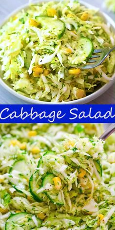 This cabbage salad with corn is made with only a few ingredients and it tastes fantastic! it makes the perfect side dish for almost any kind of meal cooktoria for more deliciousness! Salad Recipes Healthy Vegetarian, Cabbage Salad Recipes, Vegetable Salad Recipes, Pasta Salad Recipes, Healthy Eating, Vegan Vegetarian, Healthy Food, Salad With Cabbage, Black Eyed Peas Recipe Vegetarian