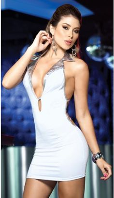 Plunging Multi Strap White Mini Dress http   somethingtrendy.com clubwear. 466548aecab1