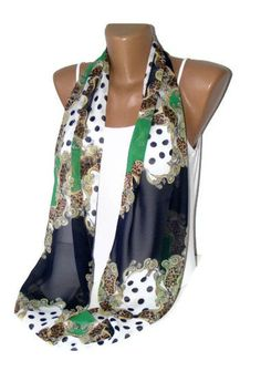 Chiffon Infinity Scarf green and navy blue  NewInfinity by seno, $15.00