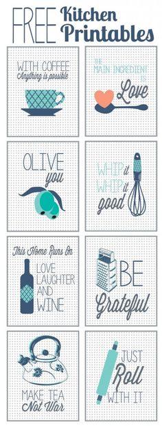 Free Kitchen Printables. I love that these make me think of pegboard. My backsplash idea.