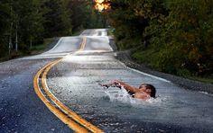 Menschen Schwimmen Straße Fantasie wallpapers