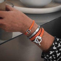 29019329b5 Bracelet cuir orange double tour argent plaqué, bracelet cordon argent  massif style hermes homme femme