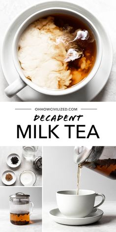 Make your tea time creamy and sweet with milk tea. Super simple and delicious, my milk tea recipe is made special with half and half and brown sugar. Milk Tea Recipes, Tea Sandwiches, High Tea, Super Simple, Banquet, Matcha, Afternoon Tea, Brown Sugar, Tea Time