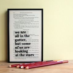 """Oscar Wilde """"we are all in the gutter"""" framed typographical art print – Bookishly"""