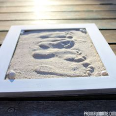 Create a footprint keepsake using an old picture frame. Great for preserving memories of your kids! #diy #crafts #kids