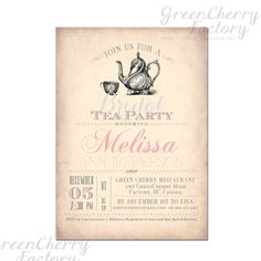 Bridal Tea Party Invitation - Bridal Shower - Baby Shower Tea Party - ANY OCCASION - Printable No.312