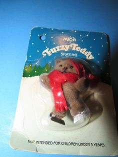 Vintage 1986 Avon Fuzzy Teddy Ice Skating with a red scarf and hat by mariehotdeals on Etsy