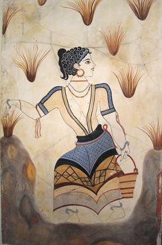 "Minoan - Thera - ""Adult Saffron-Gatherer"", detail from the ""Saffron-Gatherers"", wall-painting from Thera, B. Ancient Greek Art, Ancient Aliens, Ancient Greece, Greek History, Ancient History, Art History, Creta, Fresco, Minoan Art"