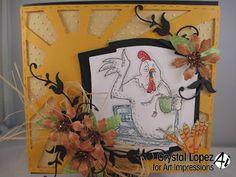 Birdie and Egg Carton #U1842 fun chicken card from Art Impressions