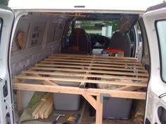 Complete Wooden Bed Frame in Van Van Conversion Bed Frame, Ford Van Conversion, Diy Van Conversions, Homemade Camper Van, Diy Van Camper, Car Camper, Campers, Build Bed Frame, Campervan Bed