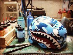 Arrrrrrhhhhh!!!!!!! #camo #bluecamo #shark #sharks #sharkmouth #helmet #wakeboardhelmet #wakeboard #triple8helmet #triple8nyc #thailand #thaiwakepark #custompaint #muaywatcustompaint