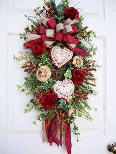 Burgundy Valentine Winter Swag https://www.facebook.com/timelesswreaths http://www.timelessfloralcreations.com/