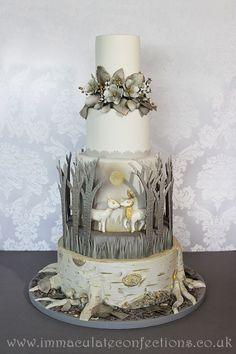 Winter Wonderland Deer Wedding Cake, Grey and Gold Wedding Cakes - Award Winning Cakes by Natalie Porter - Hertfordshire, London and Essex #wedding #weddingcake #sugarflowers