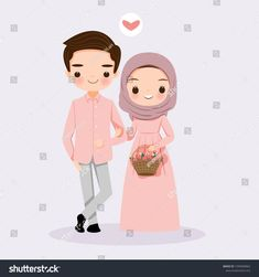 Find Cute Muslim Couple Cartoon Flower Wedding stock images in HD and millions of other royalty-free stock photos, illustrations and vectors in the Shutterstock collection. Bride And Groom Cartoon, Wedding Couple Cartoon, Love Cartoon Couple, Cute Love Cartoons, Cute Couple Art, Cute Cartoon, Cute Girl Wallpaper, Couple Wallpaper, Wedding Caricature
