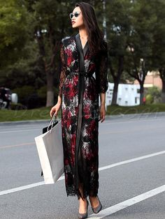 #xmas #Christmas #DressWe - #DressWe Vintage Delicate Lace Long Sleeves Printing Maxi Dress - AdoreWe.com