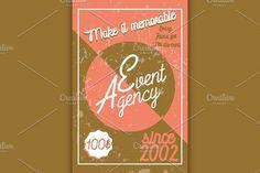 Color vintage event agency banner. Wedding Card Templates