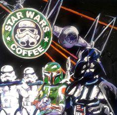 STAR WARS COFFEE by JeannetteG.Moretti AÑO: 2014 TÉCNICA: MIXTA SOBRE MDF MEDIDAS: 50x50cms