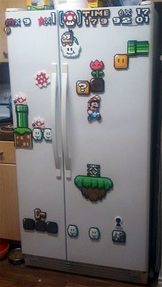 Awesome Super Mario perler fridge magnets - planned out specifically to create a great scene on the fridge doors.