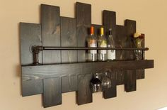 Rustic wine Rack; Industrial wine rack, offset, wine rack, cottage chic, farmhouse decor, Wine, Rustic decor, whiskey rack, whiskey