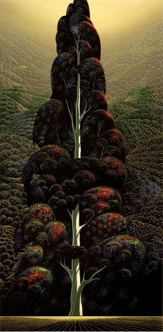 Illustration by Eyvind Earle. He was responsible for the styling, background, and colors for the high-acclaimed Disney animation, Sleeping Beauty. Vegetal Concept, Eyvind Earle, Illustrator, Posca Art, Magic Realism, Tree Art, Tree Of Life, American Artists, Landscape Art