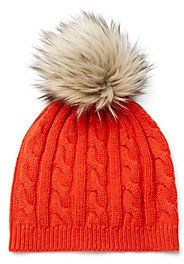 Cable Beanie With Fur Topper on shopstyle.com