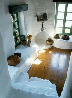 I like the wood floors against the white