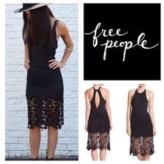 "Free People Nora Tank Racerback Midi Dress.  NWT. Free People Nora Tank Racerback Midi Dress, 50% cotton, 50% modal, machine washable, 17.5"" armpit to armpit ( 35"" all around), 43"" length, cotton-blend with a rib-knit tank bodice, sheer lace overlay at leg-baring hemline, plunging keyhole cutout at back, crew neck, sleeveless, lace skirt, racerback, measurements are approx.  ...No Trades... Free People Dresses Midi"