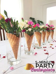 Waffle Cone Flower Centerpieces are so easy to make. In 5 minutes you can have a centerpiece for almost any kind of party including Galantines! Waffle Cone and Flower Party Centerpieces Waffle Cone Flower Party Centerpieces My neighbor Simple Centerpieces, Flower Centerpieces, Centerpiece Ideas, Summer Party Centerpieces, Wedding Centerpieces, Floating Candle Centerpieces, Quinceanera Centerpieces, Birthday Centerpieces, Flower Vases