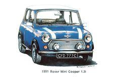 Blue 1991 Rover Mini Cooper