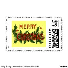 Holly Merry Christmas Postage