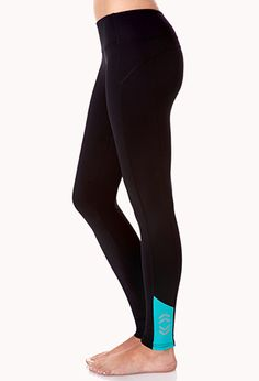 Reflective Skinny Workout Leggings | FOREVER21 - 2000128903 MEDIUM IN BLACK/GREY