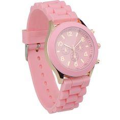 Pink Unisex Silicone Quartz Analog Wrist Watch