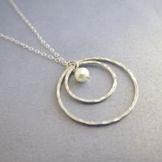 Double Circle Love Necklace with Lotus White Fresh Water Pearl, hammered and textured