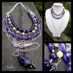 Amethyst and Olive Jade Necklace by Milla's Place, via Flickr