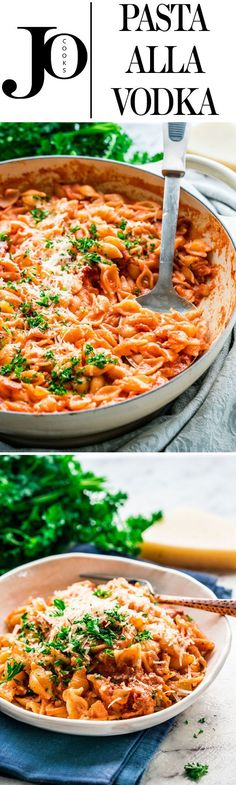 This Pasta alla Vodka is perfect for a quick weeknight dinner with an easy and creamy tomato and vodka sauce, topped with bacon and Parmesan cheese!