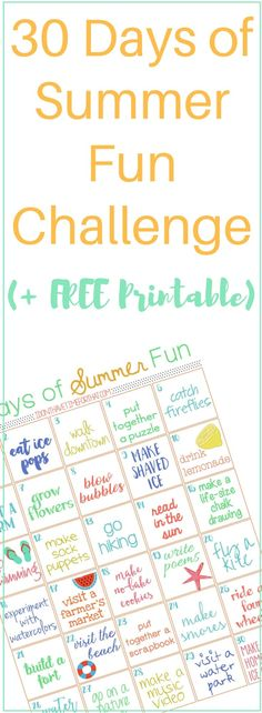 """30 Days of Summer Fun Challenge (+ FREE Printable) This year skip the """"I'm bored!""""and break the summer funk cycle Summer Fun For Kids, Summer Activities For Kids, Toddler Activities, Fun Activities, Kids Fun, Summer Boredom, Summer Schedule, Fun Challenges, Toddler Fun"""