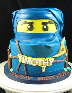 Lego ninja cake Ninja Birthday Parties, 4th Birthday, Custom Birthday Cakes, Custom Cakes, Ninja Cake, Queen Cakes, Party Stuff, Lego, Pastel