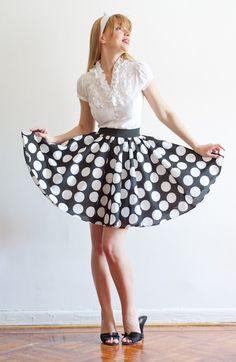 Full Circle Short Polka Dot Cotton Skirt by LanaStepul on Etsy, $42.00